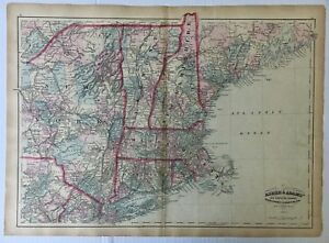 1872 Vintage Asher & Adams Atlas Map of New Hampshire Vermont Mass RI and Conn.