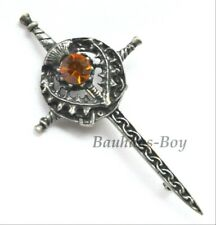 Miracle KILT PIN PEWTER SWORD THISTLE FAUX CAIRNGORM STONE ORNATE MADE IN THE UK
