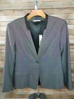 New T Tahari Black White Career Blazer Charlie Jacket Size 8