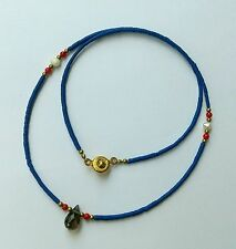Afghan Natural Lapis Tiny Beads Necklace with Smokey Quartz Pendant & Brass