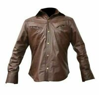 Texas Men's Real sheep Leather Shirt Soft Full Sleeve, Military style.