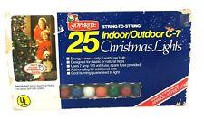 Joybrite C7 1/2 Christmas Tree Indoor Outdoor Lights 25 String Bulbs Vintage