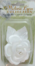 "Victorian Lynn Collection 2 1/2"" Single White Satin Rose with Pearl Center"