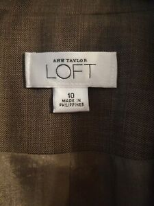 Ann Taylor Loft brown/burgundy plaid Jacket size 10, NWOT Originally $129