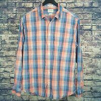 LUCKY BRAND Mens Pink Blue Plaid L/S Button-Down Shirt XL Slim Fit