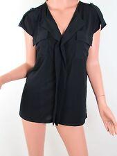 JONES NEW YORK Top M Black Blouse STRETCH Short Sleeve CAREER Womens NWT