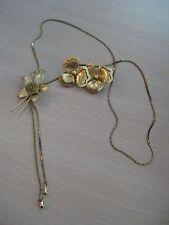 Estate Costume Flower Necklace & Clip Earrings Set Gold Tone