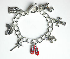 WIZARD Of OZ INSPIRED CHARM BRACELET RUBY RED SLIPPERS SHOES DOROTHY RAINBOW