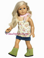 Floral Top + Skirt + Green Boots made for 18 inch American Girl Doll clothes