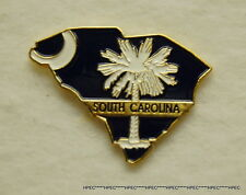 SOUTH CAROLINA STATE SHAPED / STATE FLAG LAPEL PIN SC Palmetto State Columbia