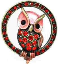 Red Sparkling Crystals Lovely Owl Pin Brooch
