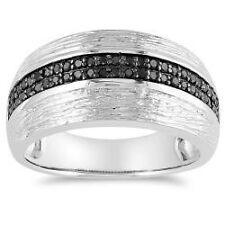 MENS  WOMENS BLACK DIAMOND WEDDING ENGAGEMENT BAND RING SZ 6 sz 7 sz 8 & 1/2