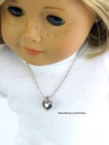 "Heart Necklace Silvertone 18"" Doll Jewelry Fits American Girl Dolls"