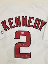 """ADAM KENNEDY Signed Angels Jersey """"2002 WS CHAMP"""" Inscription ~ Beckett BAS COA"""