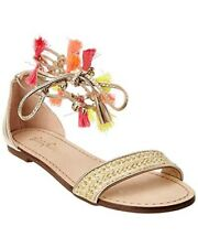 Lilly Pulitzer Women's Willa Leather Metallic Gold Sandals 8M New