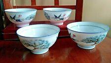 Crane Bonsai Tree Blue Trim Rice Bowls LOT 4 Signed Fine Porcelain