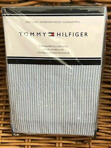 (2) Tommy Hilfiger Light Blue Oxford Stripe Standard Pillowcases  20 x 30