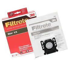 3M Filtrete Miele K/K Synthetic Vacuum Bag - 5 bags + 2 filters Free Shipping