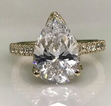 Engagement Ring 4.50 ctw.Russian Cut Pear  with Round Accents  #4994