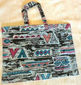 New Handmade Reusable Fabric Cloth SMALL TOTE BAG Gift Book Lunch SOUTHWEST BLUE