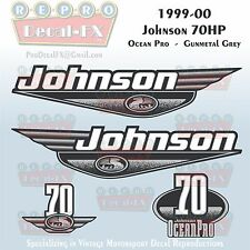 1999-00 Johnson 70 HP OceanPro 3 cyl Gunmetal Grey Outboard Repro 4Pc Decal