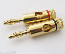 20pcs High Quality Gold Speaker Wire 4mm Banana Plug Open Screw Audio Connector