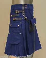 Blue Celtic Leather Stylish Kilt with Leather Sporran  | Made To Measure