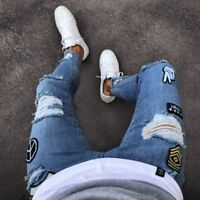 Hole Fashion slim fit trousers pant Men's AKADEMIKS STYLE Blue ARMY Skinny Jeans