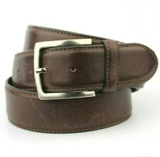 "Dark Brown Retro Thick Real Leather Belt Made in France Fits 38""-42"" Pant size"
