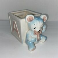Vintage Napcoware Blue Teddy Bear Block Nursery Planter