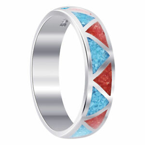925 Silver Southwestern Style Turquoise and Coral Gemstone Wedding Band Ring