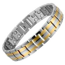 Silver Gold Titanium Fully Magnetic Therapy Health Bracelet Chronic Pain Relief