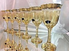 Set of 6 Glass Wine Champagne  Water Amber & Gold 8 oz  250 ml Italy