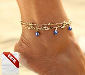 Fußkettchen Damen Nazar-Boncuk-Amulett Auge Türkei Gold Fußkette Fusskette Frau