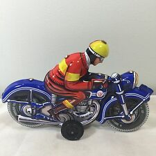 RARE VINTAGE FRICTION TIN MOTORCYCLE TOY  DUNLOP TIRES GERMANY 1970'S COLLETABLE
