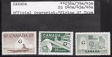 "CANADA OFFICIAL OVERPRINT ""FLYING G"" TYPE MNH OG SC 038a/039a/045a"