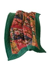 "Victorian Trading Co Velvet Rose Floral Crazy Quilt Green Navy Red Gold 50""x60"""