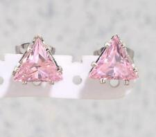 7mm PINK SAPPHIRE TRIANGLE TRILLION CUT STUD EARRINGS Gift Stainless Steel Gift