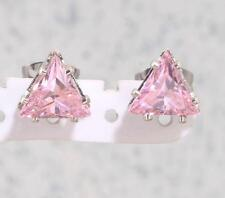 7mm PINK SAPPHIRE TRIANGLE TRILLION CUT STUD EARRINGS Gift Stainless Steel