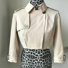 JOHN GALLIANO Beige Tan Cropped ¾ Sleeve Cotton Moto Jacket Trench Coat, size 6