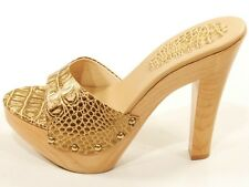 Soca High Heel Wood Platform Slides Sandals Clogs Gold Reptile Print Leather