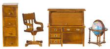 Dollhouse Miniature Office Set - Walnut - 4 pc - T6635