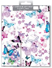 2 Sheets Gift Wrapping Paper & Tags BUTTERFLY Birthday Ladies Occasion Thanks