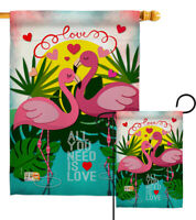 Flamingo Lover Valentines All You Need Is Love Sweet Garden House Yard Flag