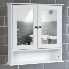 Mirrored Bathroom Cabinet Double Doors Bath Wall Mounted Storage Furniture (White)