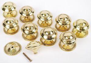 Pack Of 10 - 50mm Georgian Solid Brass Cabinet Cupboard Drawer Door Knobs