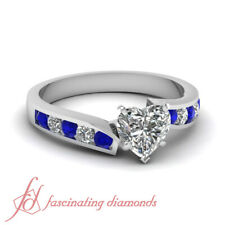 .75 Ct Heart Shaped Diamond & Blue Sapphire Engagement Ring Channel Set FLAWLESS