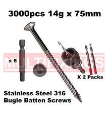 3000pcs - 14g x 75mm Stainless 316 Bugle Head Screws + SmartBit