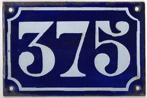 Old blue French house number 375 door gate plate plaque enamel metal sign c1900