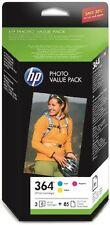 Genuine HP 364 Pack, Cyan, Magenta, Yellow, 85 sheets 6x4 photo paper 2017 EX BN